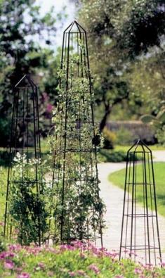 Pyramidové stojany Obelisk pro popínavé rostliny se vyrábějí v rozměrech 34 x 34 x 133, 40 x 40 x 195, 47 x 47 x 250 cm. Cena 3 990 - 6 290 Kč (LIFESPORT).