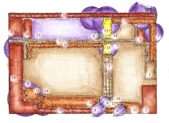 Návrh zahrady: 1. vstup do zahrady, zpevněná plocha, 2. kůlna na dřevo, 3. pískoviště, 4. kompost, 5. zpevněná plocha, cesty, 6. sušák na prádlo, 7. listnaté stromy, 8. magnólie, 9. jehličnaté stromy - převislý modřín, 10. vyšší keře, 11. nižší keře, 12. japonské javory, 13. půdopokryvné rostliny, trvalky, 14. travnatá plocha, 15. užitková část zahrady.