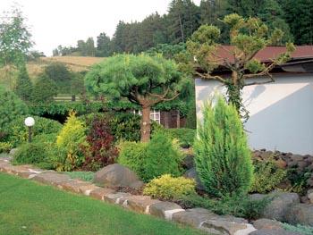 Vkusně zakomponované zahradní osvětlení ladí s moderním stylem zahrady.
