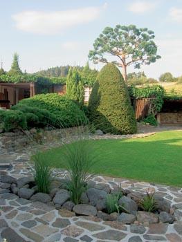 Osamocená divizna rostoucí v blízkém kamenolomu inspirovala majitele k vytvoření kamenného pole s travinami.