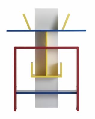 Policový systém ze série Calligrafia (design Cortesi Design), materiál MDF, povrchová úprava v laku, systém vyráběný na míru, FLOU.