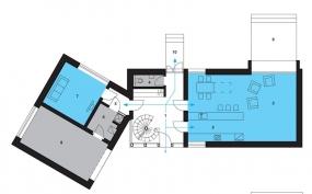 Půdorys přízemí: 1)hala 2) kuchyň 3)obývací pokoj 4)WC 5)předsíň 6)technická místnost 7)domácí kino 8)garáž 9)terasa 10)zápraží.