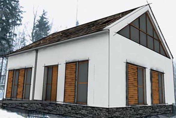 Návrh architektů: tmavá střešní krytina kontrastuje se zářivě bílou fasádou.