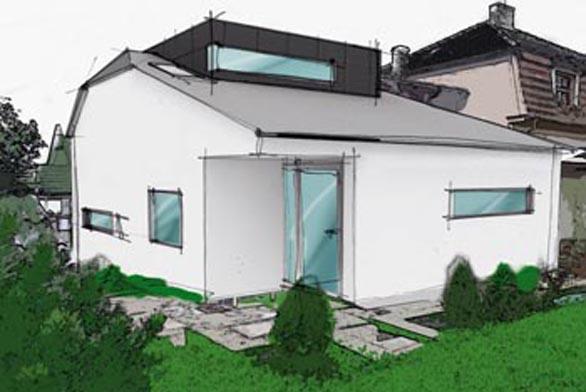 Pohled ze zahrady - bílá fasáda se přece jen zdá jako nejvhodnější řešení.