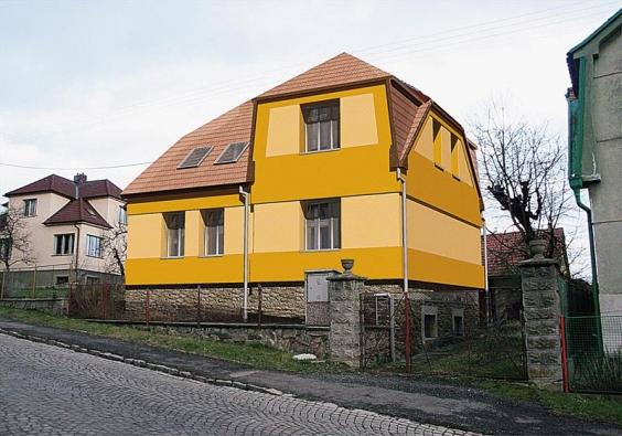Pohled západní - návrh. Do ulice si dům zachovává původní vzhled, přibyla jen střešní okna.
