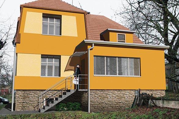 Pohled východní - návrh. Po obou stranách nového schodiště je navrženo ocelové zábradlí o výšce 90 cm, na straně u domu může být nahrazeno pouze madlem ve stejné výšce. Celá vstupní podesta je zastřešena lehkou markýzou, která společně se schodištěm částečně odlehčuje hmotu domu.