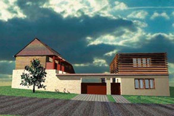 Nejmoderněji pojatá varianta úpravy vzhledu kompozičně navazuje na původní hmotové řešení (přízemní dům plus podkroví).