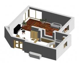 První varianta klade důraz především na nezastavěný obývací prostor.