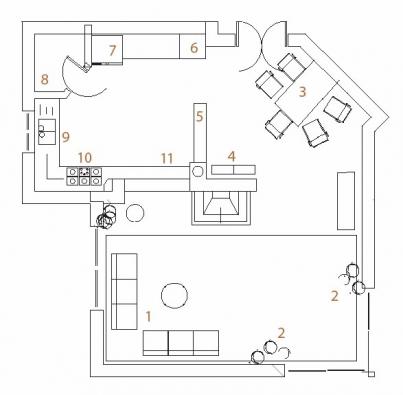 Půdorys varianty A: 1 rohová sedací souprava, 2 květiny, 3 jídelní kout, 4 skleník s dekoračními předměty, 5 nízký stolek, 6 sloup se zabudovanou mikrovlnnou a horkovzdušnou troubou, 7 lednice, 8 spíž, 9 mycí zóna s dřezem, 10 varná zóna, 11 barové okénko se sedátkem.