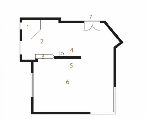Půdorys místnosti ve fázi hrubé stavby: 1) spíž, 2) kuchyňský prostor, 3) bar, 4) komín, 5) místo pro krb, 6) obývací prostor, 7) dveře.