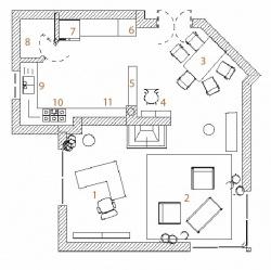 Půdorys varianty B: 1) pracovní kout se stolem a knihovnou za zády, 2) ratanová sedací souprava, 3) jídelní kout, 4) skleník s dekoračními předměty, 5) nízký stolek s židlí, 6) sloup se zabudovanou mikrovlnnou a horkovzdušnou troubou, 7) lednice, 8) spíž, 9) mycí zóna s dřezem, 10) varná zóna, 11) barové okénko se sedátkem.