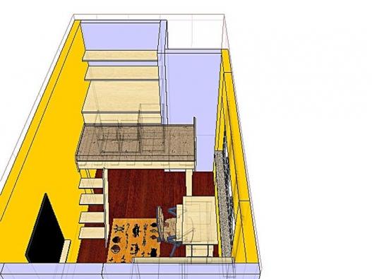 Varianta 1 - praktickým řešením je zvýšená postel se spodním úložným prostorem.