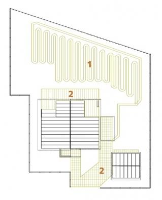 Schéma pozemku s kolektory: 1) kolektory, 2) zpevněné plochy.