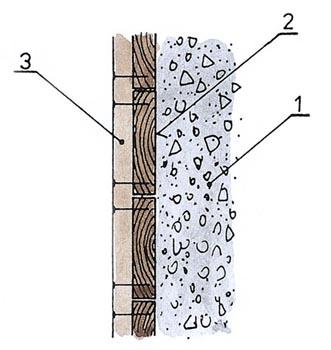 Prkna se kladou pravou stranou k betonové směsy 1-betonová směs, 2-pravá strana prkna, 3-svlak.