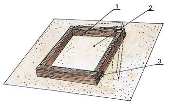 Dřevěný rámeček pro výrobu betonové dlaždice (1-otevíraná část, 2-pískový podklad, 3-háček na uzavření formy).