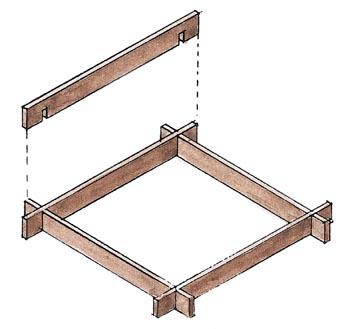 Dřevěný rozebíratelný rámeček na výrobu betonové tvárnice.