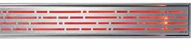 Odtokový žlab Mix z designové řady Exclusiv s LED diodovým podsvětlením, cena od 6 200 Kč (ACO).