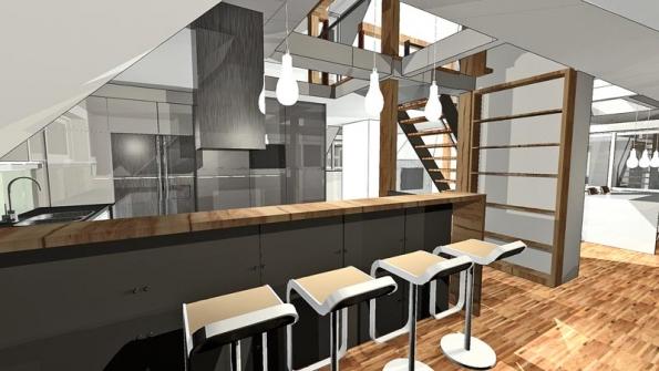 Kromě sedacího nábytku se zařízení interiéru skládá převážně z vestavěných komponentů, vyrobených na míru podle návrhu architekta. Kompaktní kuchyňská linka z lakovaných MDF desek má tvar písmene U a je uzavřena barovou sestavou s masivní dřevěným pultem. Kuchyň má z praktických důvodů na podlaze keramickou dlažbu, jinak převažuje dřevěná mozaiková podlaha.