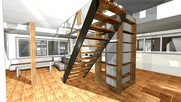 Středem podkroví vede otevřené schodiště do nově vestavěného patra.