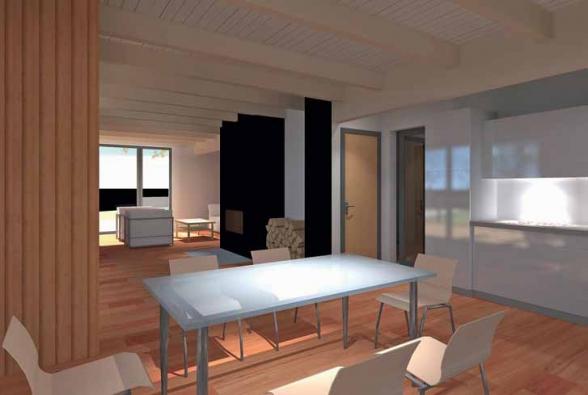 Společná obývací část. Také v interiéru se uplatňuje přírodní dřevo (podlahy, obložení stěn, dřevěný strop ponechaný v pohledu).