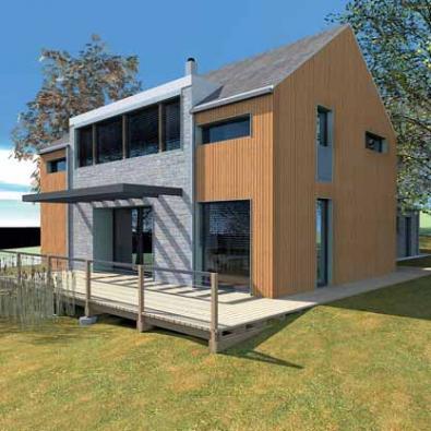 Společná obývací část domu je orientována téměř k jihu. Z fasády obložené palubkami vystupuje rizalit s kamenným páskovým obkladem, propojený s dřevěnou terasou.