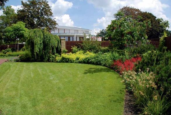 Bohaté výsadby dřevin, trvalek a travin procházejí z jedné zahrady do druhé.