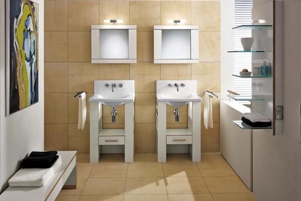 Nábytek City Life v provedení bílý lesklý laminát, umyvadlová police pro umyvadlo Pure Basic se zásuvkou, poličkami a osvětlením. Cena (bez DPH) 40 058 Kč.
