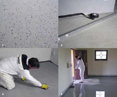 Postup při lití podlahy: 1) Tenkovrstvý epoxidový nátěr s čipsy 2) Zaměření nerovností na stávající podlaze a osazení dilatační pásky na stěnu 3) Kontrola rovinnosti po nivelování plochy před kladením podlahové krytiny 4) Odvzdušnění cementové samonivelační hmoty po nalití na plochu pomocí trnového válečku