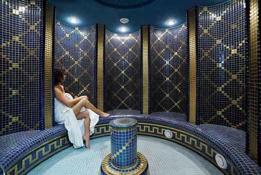 Parní komora může mít různou podobu, zde varianta připomínající římské lázně.