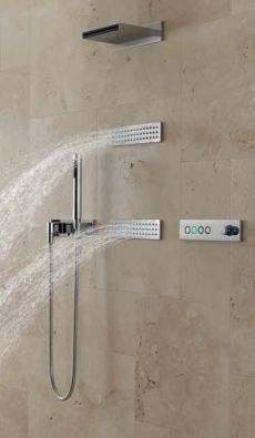 Elektronický systém ATT (DORNBRACHT) nabízí sprchování podle vámi předem naprogramovaných scénářů, cena podle vybavení cca od 340 000 Kč, KREINER EXKLUSIV.