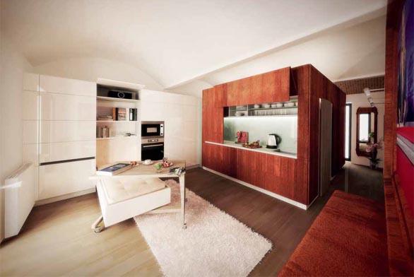 Hlavní dominantou celého bytu je stávající kubus s koupelnou a kuchyňskou linkou. Celé těleso architekti navrhli obložit cortenovým plechem, který přechází dozadu do ložnice.