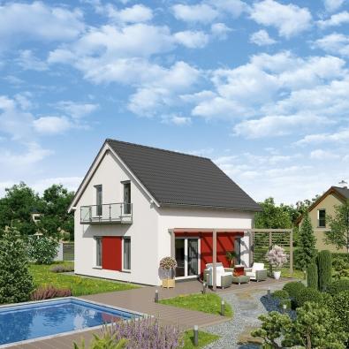 Pohled ze zahrady na rodinný dům UNO I. ve variantě s červenou.