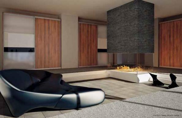 Do interiéru salonu byly navrženy vestavěné skříně kombinující sklo a dřevo (INDECO).