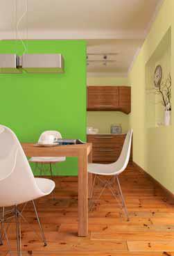Do jídelny určitě patří svěží barvy. Žlutá podporuje chuť k jídlu, oranžová dodává teplou atmosféru a energii. Optimismus a chuť do života podporuje také jarní zeleň. Ukázka je z nové kolekce Primalex Fortissimo.