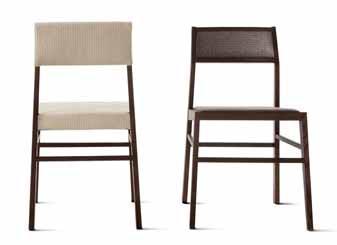 Židle, křesílka a pohovka z kolekce Aruba se vyrábějí z jasanového dřeva mořeného do kouřového nebo tabákově hnědého odstínu. Můžete volit dřevěný sedák, textilní či kožené čalounění, výplet i různé kombinace materiálů, www.varaschin.it.