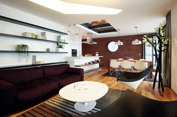 Studio Vrtiška – Žák je autorem designu interiéru loftového bytu v komplexu Cornlofts, Praha-Karlín.