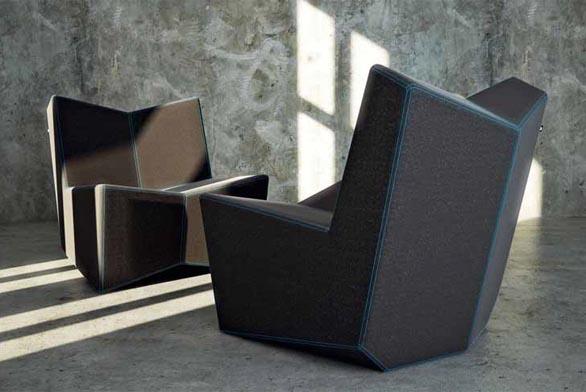 Kubikula je kolekce čalouněného sedacího nábytku s kubistickým tvaroslovím, vyrábí Vespera.