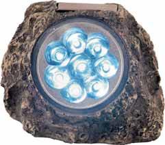 LED diody zakomponované do umělého kamene. Zdrojem energie je slunce.