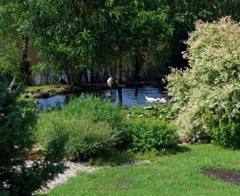 Zahrada poskytuje výhled do podhůří Šumavy.
