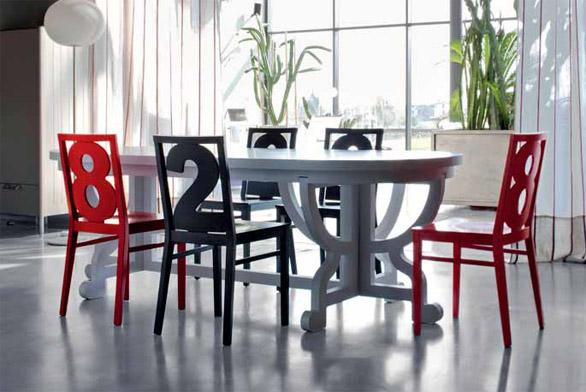Atypický jídelní stůl ozvláštní židle Numbers (BILLIANI) v provedení mořený nebo lakovaný dub, cena 4 280 Kč, KŘESLA ŽIDLE.