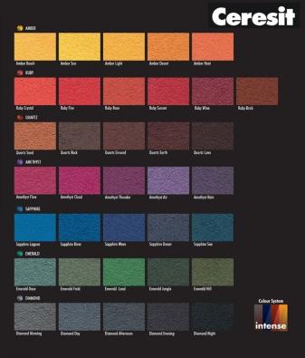 36 tmavých, intenzivních prémiových barev Ceresit Intense pro elastomerovou omítku Ceresit CT 79 Impactum.