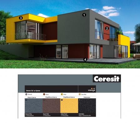 Moderní dům se statečným kombinaci tří velmi intenzivních barev Ceresit Intense. Zdůrazňují kubické formy projektu a pomáhají budově brilantně vystoupit ze svého okolí.