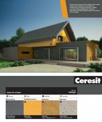 Demonstrace intenzivních odstínů, které nabízí systém Ceresit Intense.  Vivid Amber je dominantou a krásně kontrastuje s šedým povrchem Diamond Morning.  Poměrně jednoduchý architektonický projekt tak dostává nové rozměry.