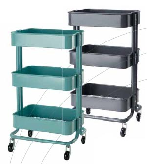 Servírovací stolek Råskog (IKEA), prostřední police nastavitelná, ocel a epoxidový práškový lak, rozměr 35 x 45 x 78 cm, cena 1 290 Kč, IKEA.
