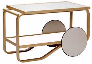 Slavný servírovací stolek z roku 1936 Tea Trolley 901 (ARTEK), design Alvar Aalto, kombinace březového dřeva a laminátu, rozměr 90 x 50 x 56 cm, cena 42 100 Kč, KŘEHKÝ.