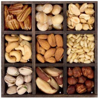 1) Ořechovec pekanový neboli pekan (Carya illionensis) z čeledi ořešákovitých u nás zmrzá. Strom výšky 30 m. U nás ve vinohradnických oblastech je možné vysadit kříženec mezi ořechovcem pekanovým a ořechovcem vejčitým, tzv. hikanové ořechy. 2) Makadamie celolistá (Macadamia integrifolia) z čeledi stříbřencovitých je původem z Austrálie. Ořechy mají velmi tvrdou skořápku. Strom s výškou 15 m. U nás dobře snáší pěstování v přenosných nádobách. Samosprašné odrůdy lze nakoupit přes internet. 3) Podzemnice olejná, arašídy, burské oříšky, buráky (Arachis hypogaea) z čeledi bobovitých zavrtává nepukavé kožovité lusky pod zem (geocarpismus). Jednoletá bylina, výška až 0,5 m. V zahradních centrech bývají nabízena nepražená semena k výsevu s návodem k pěstování. 4) Ledvinovník západní, kešu, akašu, kašu oříšky (Anacardium occidentale) z čeledi ledviníkovitých roste pouze v tropech. Strom vysoký 18 m. Nepravým plodem je hruškovitě ztloustlá stopka lahodné chuti, na jejímž konci je oříšek, který je nutné před loupáním pražit. 5) Mandloň obecná, mandle (Amygdalus communis) z čeledi růžovitých je možné u nás pěstovat ve vinohradnických oblastech. Až 12 m vysoký stromek. 6) Borovice pinie, piniové oříšky, piňolky (Pinus pinea) z čeledi borovicovitých z jihu Evropy u nás zmrzá. Výška až 25 m. Šiška zraje 3 roky. 7) Pistácie pravá, zelené mandle (Pistacia vera) z čeledi ledviníkovitých pochází z Přední a Střední Asie. Strom nebo keř s výškou do 7 m. Samčí a samičí květy. Jedlé plody poskytuje asi 11 druhů. 8) Juvie zteplá, para ořechy (Bertholletia excelsa) z čeledi hrnečníkovitých pochází z Amazonie. Strom vysoký až 50 m. Sklizeň pouze z planých stromů. Domorodci sbírají spadané tobolky hrnkovitého tvaru s klínovitými semeny, plaví je po řece do přístavu, odkud se po další úpravě rozvážejí do celého světa. 9) Líska obecná, lískové oříšky (Corylus avellana) z čeledi břízovitých dosahuje výšky až 7 m. Prošlechtěna do odrůd lišících se tvarem a velikostí ořechu nebo barvou listu.