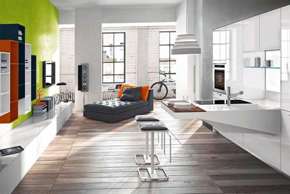 V tomto interiéru je dominantní samo zdivo a podlaha, hodí se k nim jednoduchý nábytek (lakované MDF desky a corian) dominantní je zdivo a podlaha.