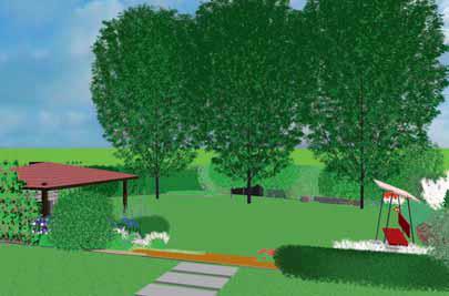 Spodní části zahrady dominují tři liniově vysazené okrasné stromy.