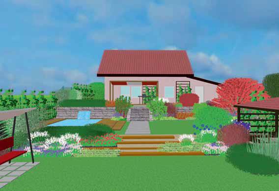 Svažitý terén zahrady je rozčleněn do několika rovinatých teras oddělených kamennou zídkou a osázeným svahem.
