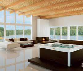 Hydromasážní minibazén Unique pro 3 osoby, rozměry 190 x 150 x 80 cm, s dřevěným obložením teak, wengé nebo s panely bez úpravy, které lze obložit v libovolném designu, 14 velkých trysek, až 10 vzduchových trysek, podhladinové osvětlení, aromaterapie, cena od 358 875 Kč (AQUA PLUS).